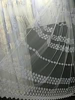 Белый тюль с объемной вышивкой и пустыми полями (основа-фатин), фото 1