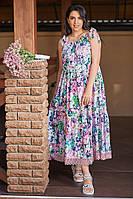 Женское летнее платье сарафан свободного фасона длинный на бретельках цветочный принт размер:50,52,54,56