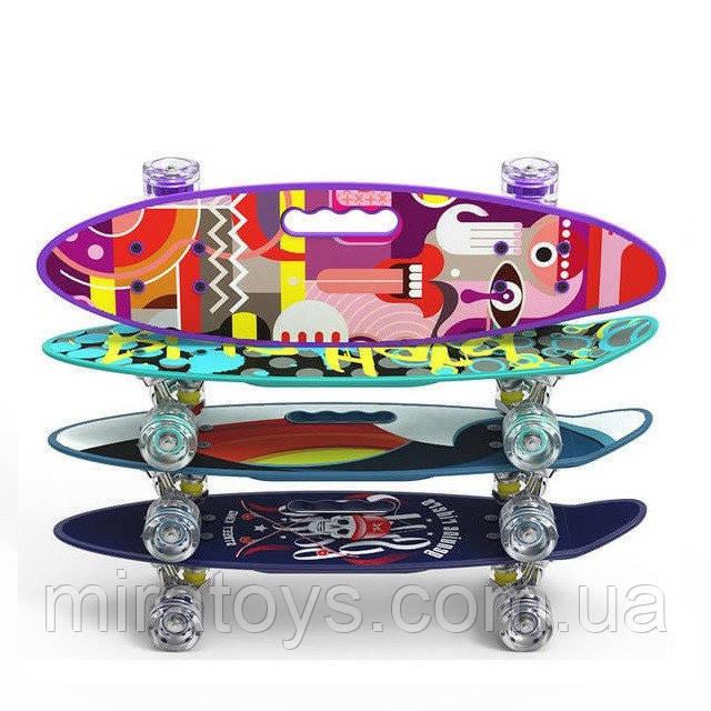 Пенні борд (скейт) з безшумними колесами і ручкою 00165
