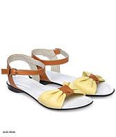 Летние модные красивые женские комбинированные кожаные босоножки на низком ходу разных расцветок. Арт-3347