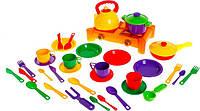 Набор детской игрушечной посуды с плитой 1047 Юника