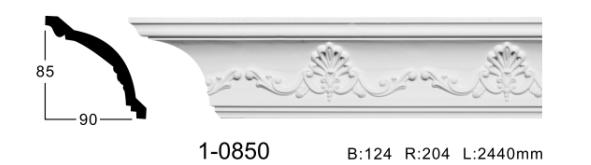 Карниз потолочный с орнаментом Classic Home 1-0850, лепной декор из полиуретана
