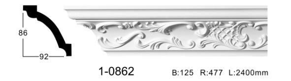 Карниз стельовий з орнаментом Classic Home 1-0862, ліпний декор з поліуретану