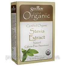 Экстракт Стевии, Stevia Extract - Certified Organic Calorie-Free Sweetener, Swanson, 75 порций