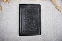 Кожаная обложка на паспорт Имидж черная 04-001