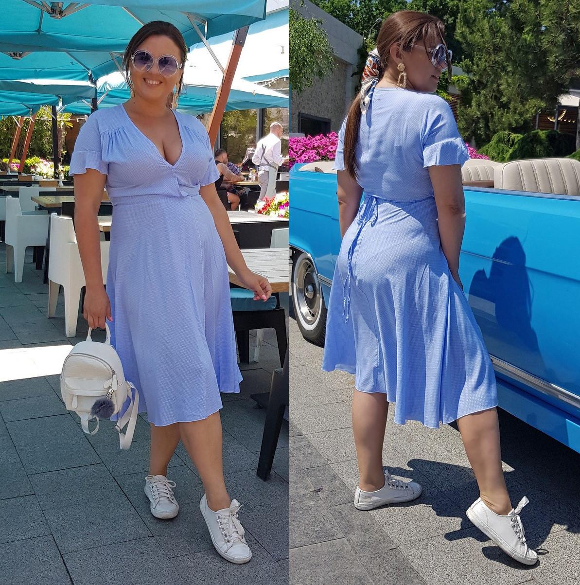 Женское летнее платье на запах  НИ04077 (бат)