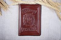 Кожаная обложка на паспорт Имидж коричневая 04-003, фото 1