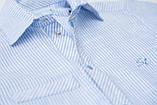 Сорочка для хлопчика з коротким рукавом SmileTime в смужку на кнопках, блакитна, фото 2