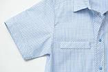Сорочка для хлопчика з коротким рукавом SmileTime в смужку на кнопках, блакитна, фото 3