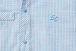 Сорочка для хлопчика з коротким рукавом SmileTime в смужку на кнопках, блакитна, фото 5