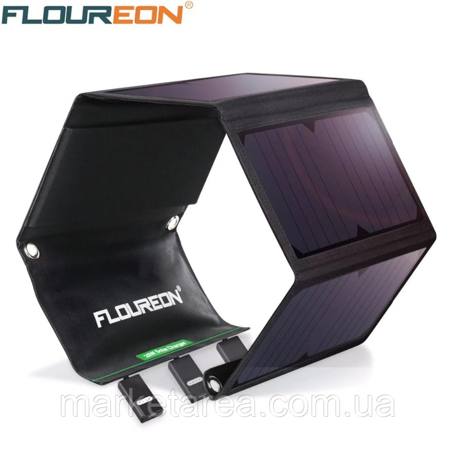 Солнечная панель Floureon 10 Вт 5 секции, складная, Выход 5В 2А. USB 153x520х5 мм рабочее сост.