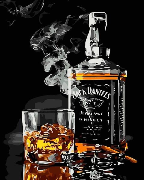 Раскраски для взрослых 40×50 см. Сигара и виски. Вечная пара.