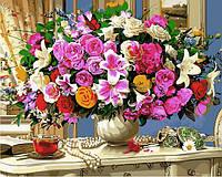 Раскраски для взрослых 40×50 см. Летние цветы и чашка чая