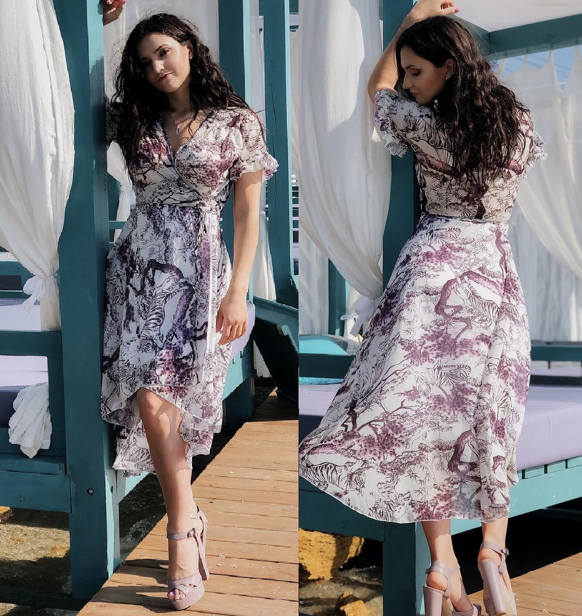 Женское коктейльное шифоновое платье  НИ4072 (норма)