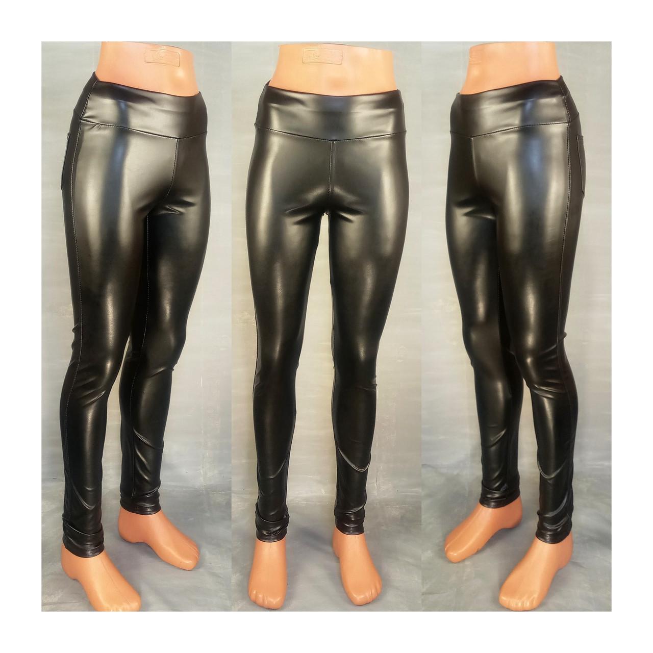 Женские эко кожаные тонкие леггинсы черные 42