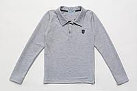 Поло для мальчика с длинным рукавом р.122,140,146,152,158 SmileTme, серый меланж