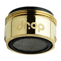 Водосберегающий аэратор DROP CL24-GLD для крана, расход 5л/мин, внешняя резьба 24мм, цвет золото