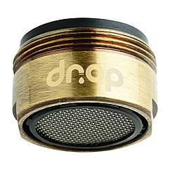 Водосберегающий аэратор DROP CL24-BRN для крана, расход 5л/мин, внешняя резьба 24мм, цвет бронза