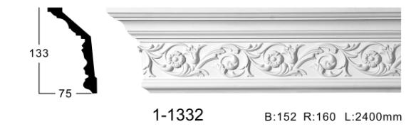 Карниз стельовий з орнаментом Classic Home 1-1332, ліпний декор з поліуретану