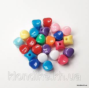Бусины Акрил, Четырехугольные, 10×8 мм, Цвет: Микс (50 шт.)