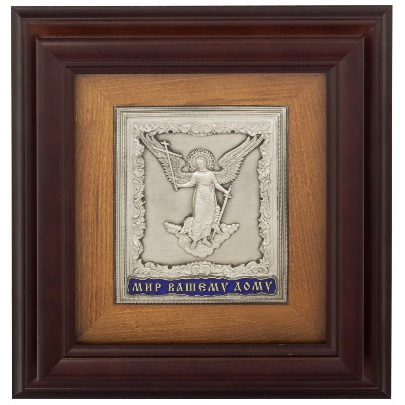 """Ключница настенная деревянная с иконой """"Мир вашему дому"""""""