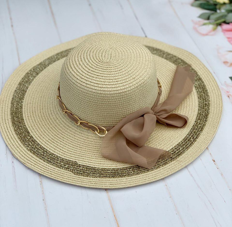 Шляпа соломенная женская пляжная с лентой