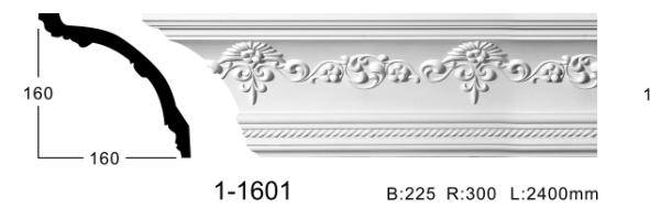 Карниз потолочный с орнаментом Classic Home 1-1601, лепной декор из полиуретана
