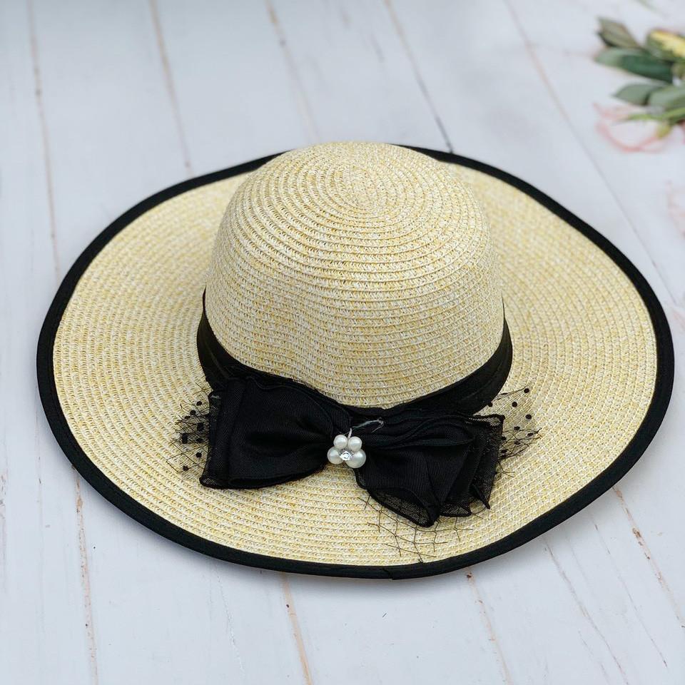 Шляпа соломенная женская пляжная с  черной лентой и бантом