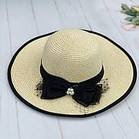Шляпа соломенная женская пляжная с  черной лентой и бантом, фото 1