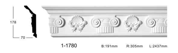 Карниз стельовий з орнаментом Classic Home 1-1780, ліпний декор з поліуретану