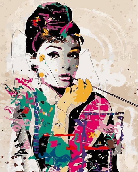 Раскраски по номерам 40×50 см. Одри Хепбёрн в стиле поп-арт