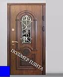 Двері вхідні з полімер плитою з ковкою, фото 4