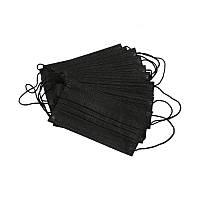 Маски медицинские одноразовые черные из нетканого материала, 50 шт/упаковка (Black)