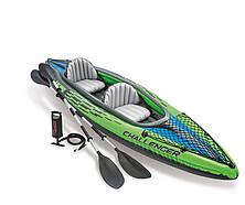 Лодка надувная Intex 68306 Challenger K2 с веслами и насосом Зеленый (int68306)