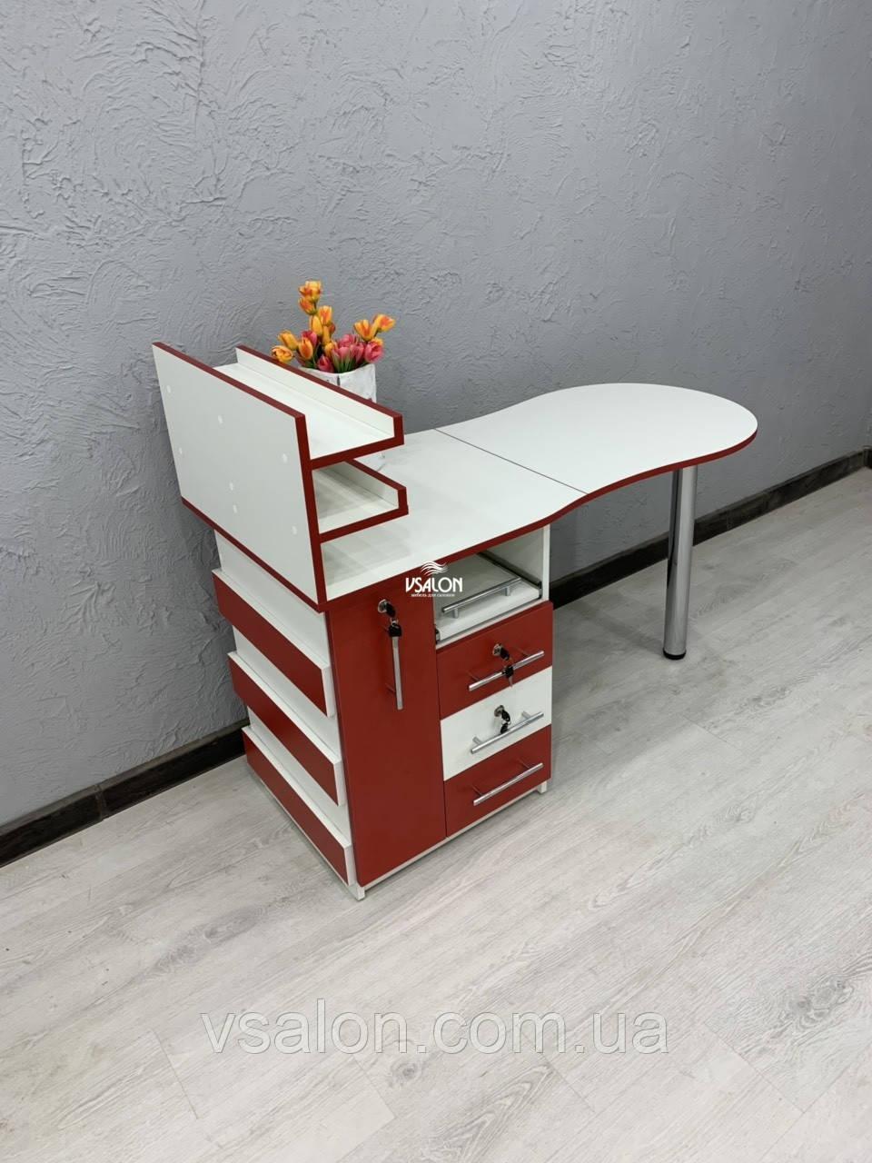 Красный маникюрный стол с ящиком карго V463