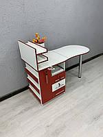 Красный маникюрный стол с ящиком карго V463, фото 1