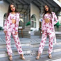 273bf5d241fc Костюм женский брючный стильный цветочный принт пиджак топ и брюки разные  расцветки Dan1625