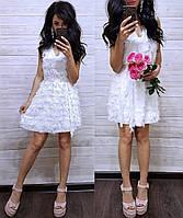 Короткое вечернее платье шифон с гипюром ресничка, белое
