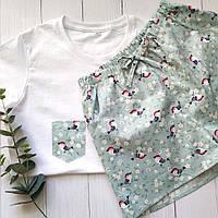 Женская пижамка с шортами в птички