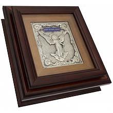 """Ключниця настінна дерев'яна з зображенням Янгола-Охоронця """"Мир цьому дому"""""""
