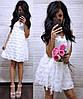 Красивое женское кружевное платье белого цвета