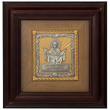 """Ключниця настінна дерев'яна прикрашена зображенням Богородиці і молитовним написом """"Покрова"""""""