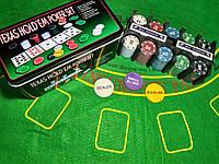 Покерный набор на 200 фишек   набор для игры в покер с номиналом новый