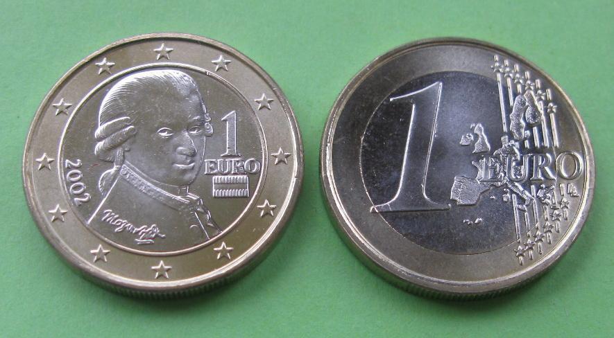 Австрія 1 євро 2002 р. UNC.