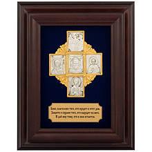 """Ключниця настінна декоративна з дерева """"Хрест з молитвою"""""""