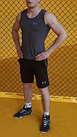 Майка + Шорты в стиле Under Armour! Спортивный костюм мужской летний / антрацит, фото 1