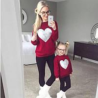 Свитшот сердечко  ( взрослое + детское ) мама и дочь Family Look