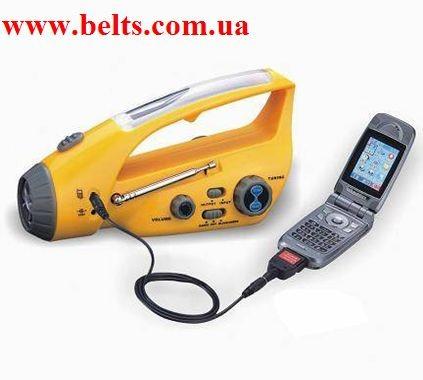 Динамо-фонарь с подзарядкой для мобильного телефона и радио Dynamo Wind-up+Solar Flashlight with FM Radio