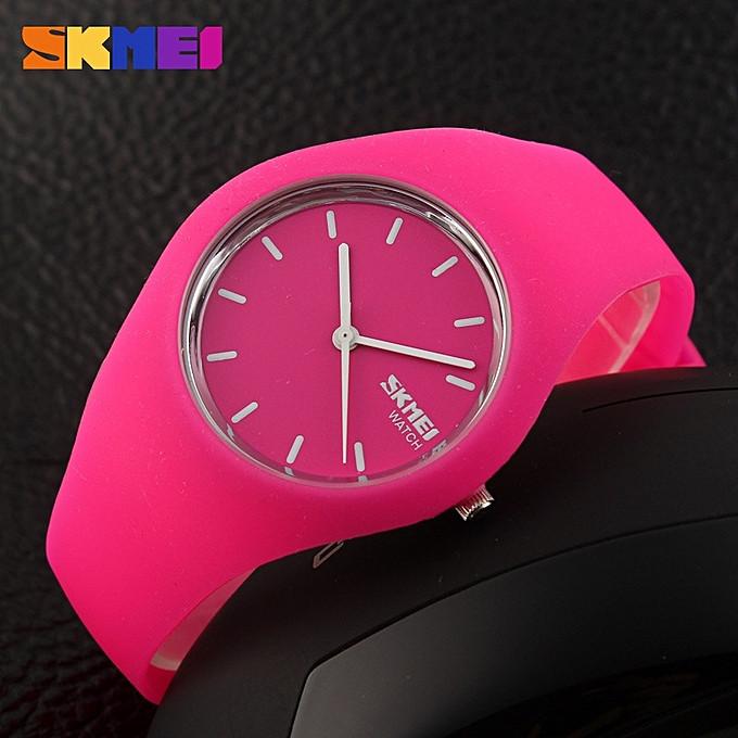Skmei 9068 rubber  розовые женские спортивные часы