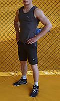 Майка + Шорты в стиле Puma! Спортивный костюм мужской летний / антрацит, фото 1